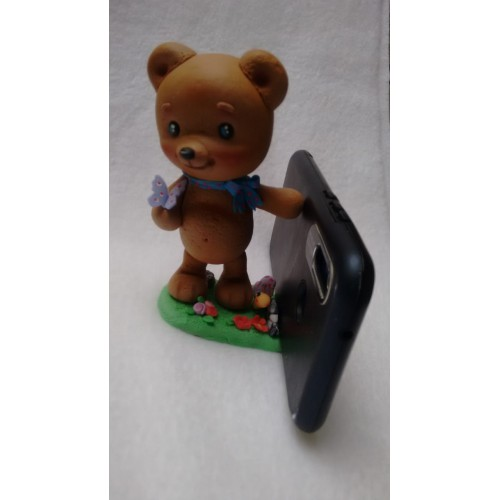 porta celular oso marrón